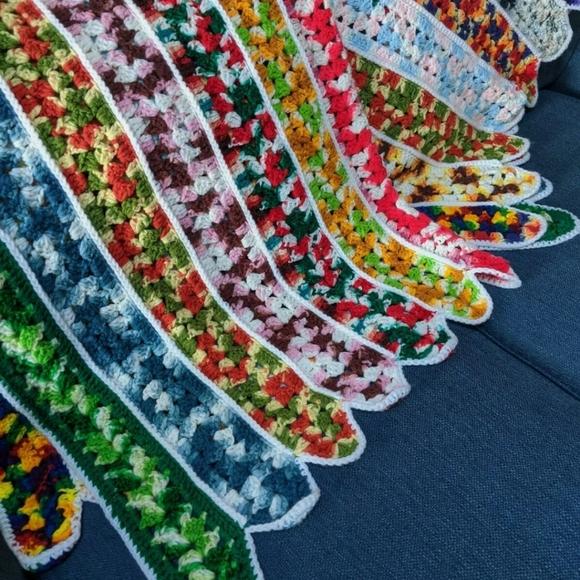 """Vintage Crochet Afghan Throw Blanket 68"""" x 54"""